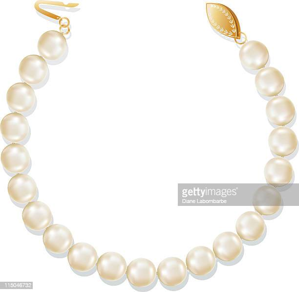 Strand of Pearls Antique Necklace with Gold Clasp on White