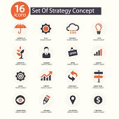 Strategy Concept icons,vector,Orange version