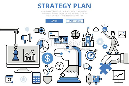 strategy plan strategic planning business concept flat line art