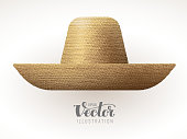 Straw hat isolated on white background. Eps8. RGB. Global colors