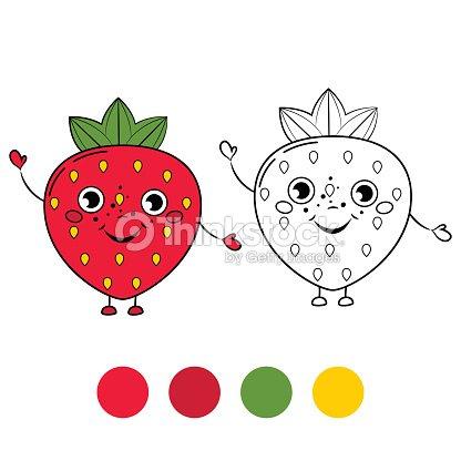 Fresa Libro Para Colorear Página Ilustración De Vectores De Dibujos ...