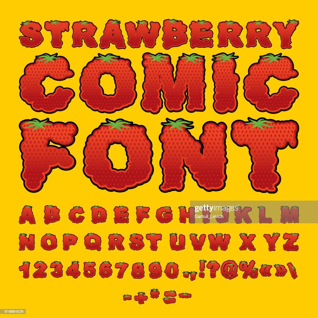Strawberry comic font. Berry ABC. Red fresh fruit alphabet. Lett : Vector Art