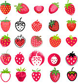 Strawberry icons big set. Different styles - flat,realistic, hand drawn, painted mosaic