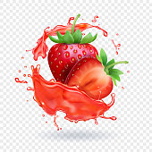 Strawberry realistic juice Fresh fruit splash vector icon.