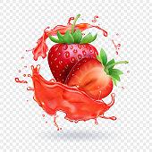 Strawberry realistic juice Fresh fruit splash vector icon.