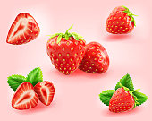 a set of realistic fresh strawberry in different state like, cut in half, fruit without calyx, leaves, isolated on light pink.