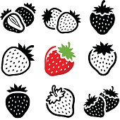 Strawberry icon collection - vector illustration
