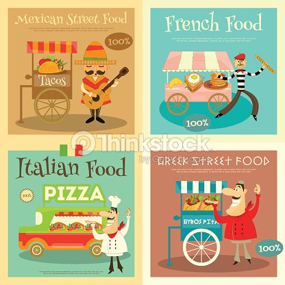 Street Food Festival Posters Set Vector Art
