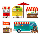 Vector illustration collection of street food seller