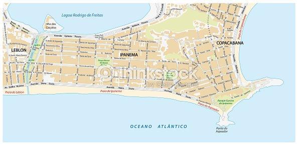 Street Map With Names Of The Ipanema District Rio De Janeiro Vector ...