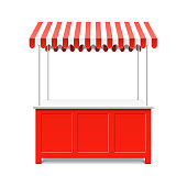 Street market stall for trading with awning, vector illustration