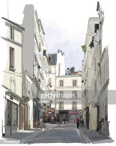 street near Montmartre in Paris : Vector Art