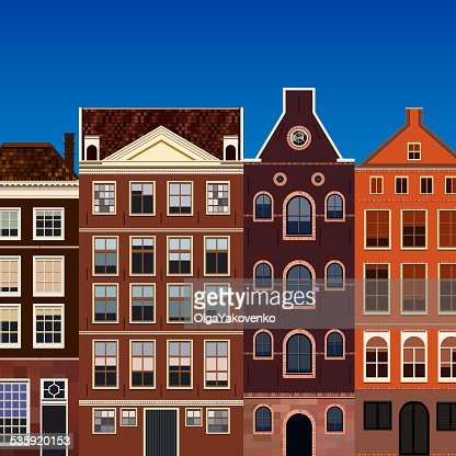 Street of generic old houses. : Vector Art