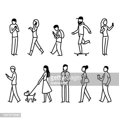 Street people walking set : stock vector