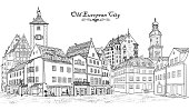 Street with old buildings and cafe in old city. Cityscape - houses, buildings and tree on alleyway. Old city view. Medieval european castle landscape. Urban landscape illustration. Pencil drawn vector