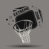 Streetball and basketball basket icon logo - stock vector