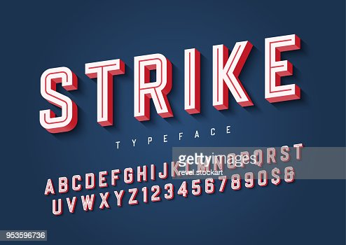 Strike trendy inline sports display font design, alphabet, typef : Vector Art