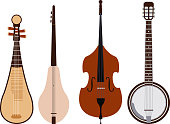 Stringed dreamed musical instruments classical orchestra art sound tool and acoustic symphony stringed fiddle wooden equipment vector illustration.
