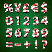 Christmas Stripe Numbers in 3D