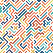 Striped colorful seamless geometric pattern. Vector background.