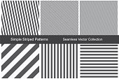 Striped patterns. Seamless vector collection. Black and white texture.