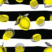 Striped seamless pattern with hand drawn lemons. Summer background.