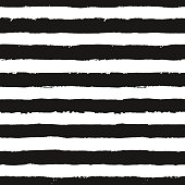 Stripes pattern. Seamless brush stroke rounds. Sketchy hand drawn graphic print. Grunge vector design. Black and white background. Grungy wallpaper, furniture fabric, fashionable textile.