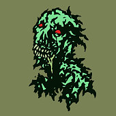 Stripped zombie with saliva flowing from his mouth. Vector illustration. Genre of horror.