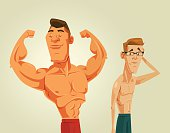 Strong and weak men. Vector flat cartoon illustration