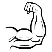Strong arm vector icon. Sport, fitness, bodybuilding concept illustration