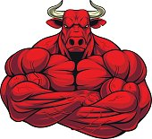Vector illustration of a strong healthy bull with large biceps.