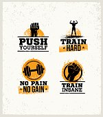 Strong Fitness Gym Workout Motivation Design Elements. Sport Fit Sign Vector On Rough Background.