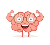 Strong happy healthy brain cartoon character show his biceps.