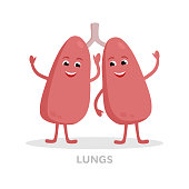 Strong healthy lungs cartoon character isolated on white background. Happy lungs icon vector flat design. Healthy organ concept medical illustration