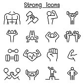 Strong icon set in thin line style