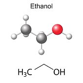 Structural chemical formula and model of ethanol molecule, 2d and 3d illustration, isolated, vector, eps 8
