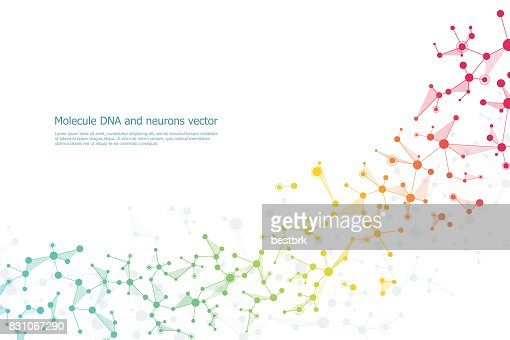 Structure molecule dna and neurons, connected lines with dots, genetic and chemical compounds, vector illustration : Vector Art