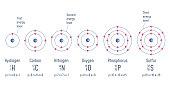Structure of an atom. Hydrogen. Carbon. Nitrogen. Oxigen. Phosphorus. Sulfur. Atomic Model diagram. Vector illustration