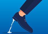 Businessman's feet are stuck