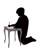 A student boy writing on paper, silhouette vector