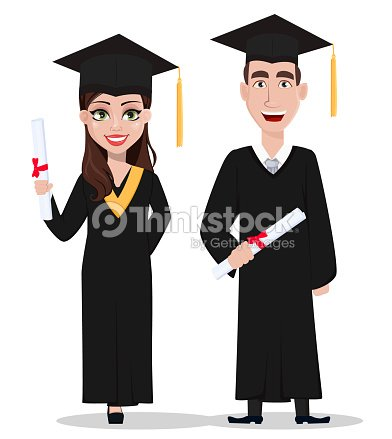 1d561051a Graduación de estudiantes. Personaje de dibujos animados con diploma   arte  vectorial