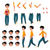 Student, young man character creation set with different poses, gestures, faces, cartoon vector illustration on white background. Studemt boy creation set, constructor, changeable face, legs, arms