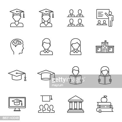 Students, education set of vector icons line style : Vector Art