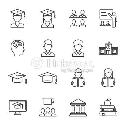 Students, education set of vector icons line style : stock vector