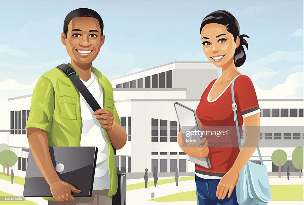 Students on Campus : Vector Art