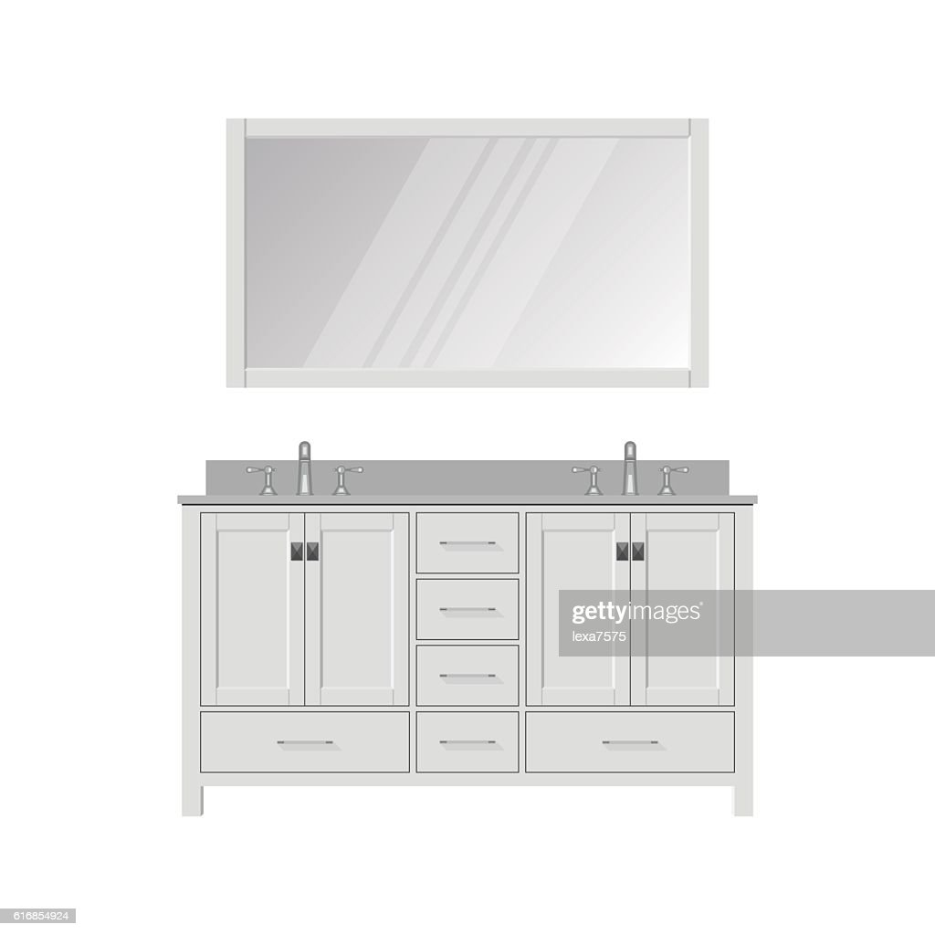 Style Bathroom Vanity and Mirror. Dressing Table. : Vector Art