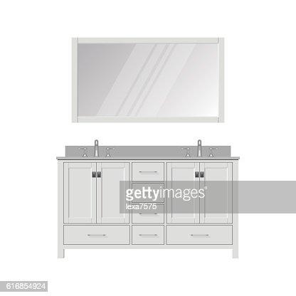 Style Bathroom Vanity and Mirror. Dressing Table. : Vector Art