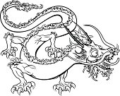 An illustration of a stylised Chinese oriental dragon perhaps a dragon tattoo