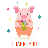 Stylish card or banner with a cute cartoon pig and bouquet of flowers. Funny vector illustration with text.