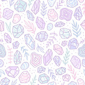 Stylish doodle gem crystals. Vector hand drawn seamless pattern
